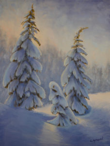 1643 - 24x18 - Winter Trio - Oil